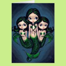 """Green Mermaid Triplets"" Greeting Card"