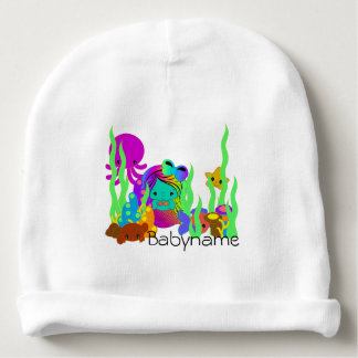Green Mermaid Under the Sea Personalized Baby Beanie