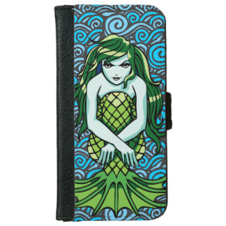 Green Mermaid Wallet Phone Case For iPhone 6/6s