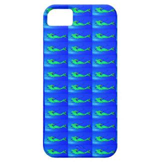 green mermaids on blue case