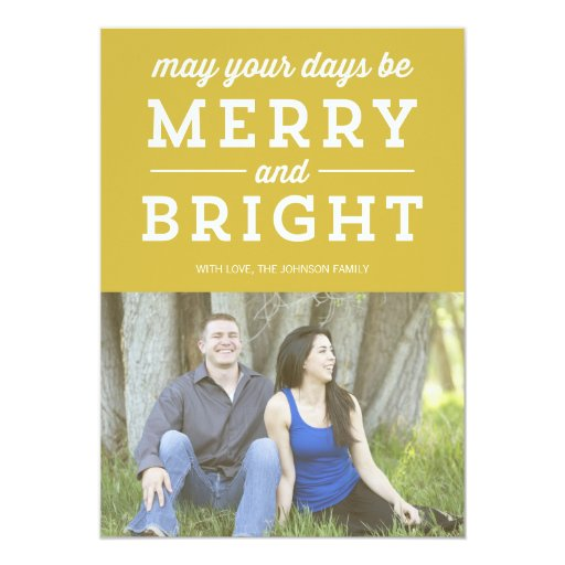 Green Merry & Bright Christmas Photo Flat Card Personalized Announcement