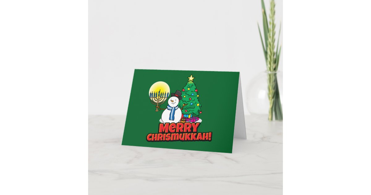 Green Merry Chrismukkah Jewish and Christmas Holiday Card | Zazzle.com