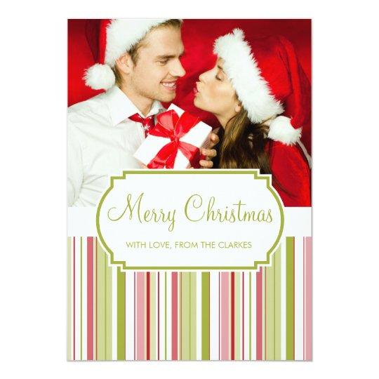 Green Merry Christmas Photo Flat Stripe Cards