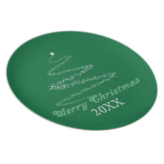 Green Merry Christmas Plate Template