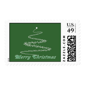 Green Merry Christmas Postage Stamp