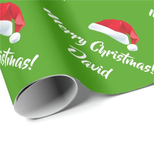 Green Merry Christmas Santa Hat wrapping paper