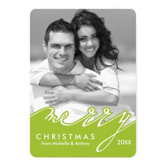 Green Merry Christmas Script Photo Card