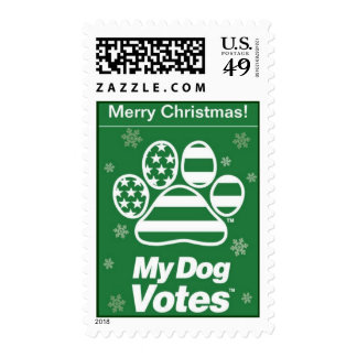 Green Merry Christmas Stamps From My Dog Votes