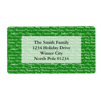 Green Merry Christmas Typography Pattern Label