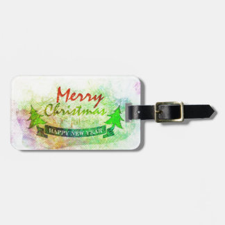 Green Merry Christmas Watercolor Trees Luggage Tag