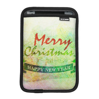 Green Merry Christmas Watercolor Trees Sleeve For iPad Mini