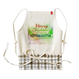 Green Merry Christmas Watercolor Trees Zazzle HEART Apron