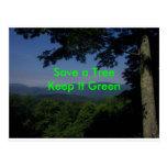 Green Message Postcard