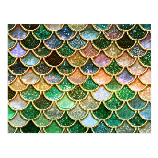 Green Metal Foil Glitter Gold Mermaid Scales Postcard