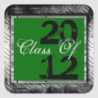 Green & Metal Look Any Year Graduation Stickers