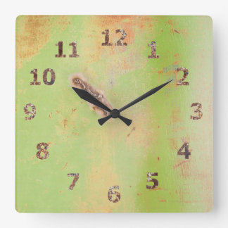 Green Metal Weld Grunge Photograph Square Wall Clock