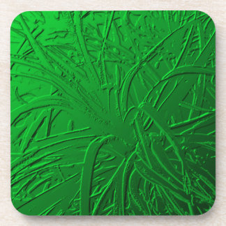 Green Metallic Air Plant Relief Drink Coasters