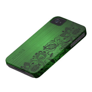 Green Metallic Brushed Aluminum Look & Black Lace iPhone 4 Case