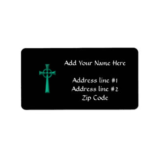 Green Metallic Celtic Cross Label