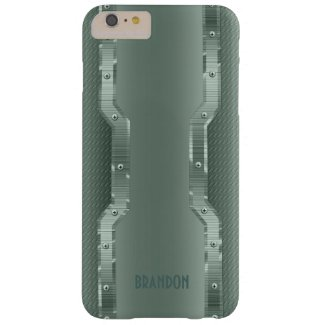 Green Metallic Design Brushed Metal Look Monogram Barely There iPhone 6 Plus Case