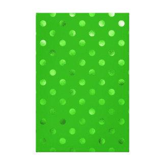 Green Metallic Faux Foil Polka Dot Background Canvas Print