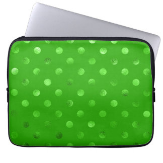 Green Metallic Faux Foil Polka Dot Background Laptop Computer Sleeves