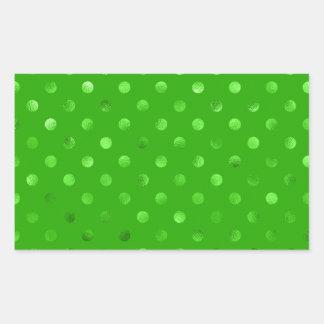 Green Metallic Faux Foil Polka Dot Background Rectangular Sticker