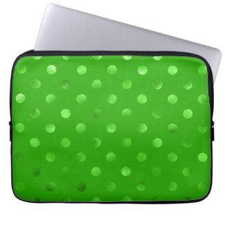 Green Metallic Foil Polka Dot Kelly Background Laptop Sleeve