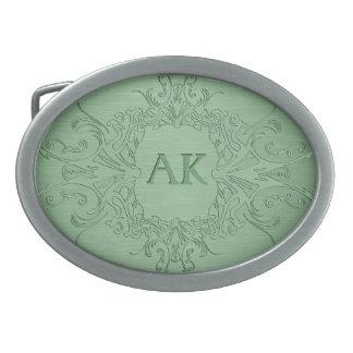 Green Metallic Look Ornate Frame-Monogram Oval Belt Buckle