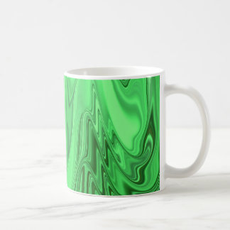 Green Metallic Looking Flowing Wave Design Pattern Coffee Mug
