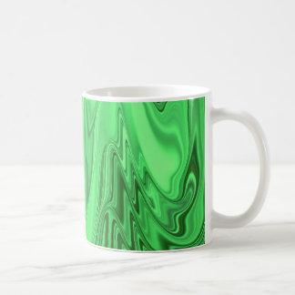 Green Metallic Looking Flowing Wave Design Pattern Coffee Mug