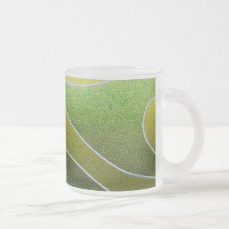 Green metallic pattern frosted glass coffee mug