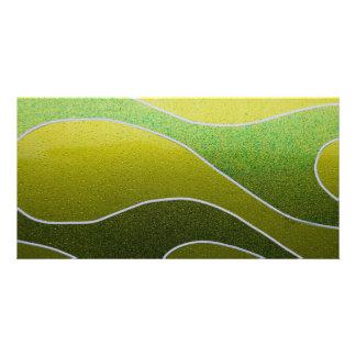 Green metallic pattern custom photo card