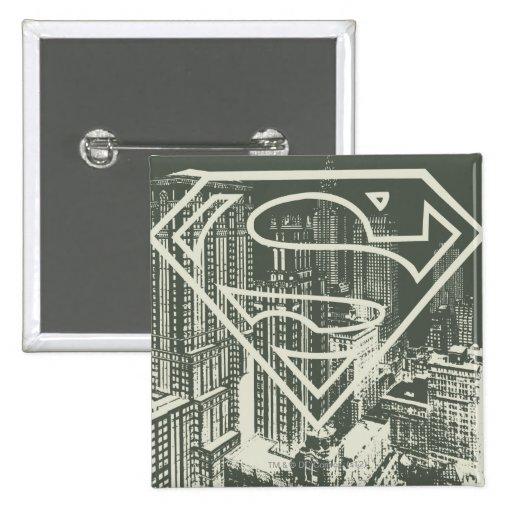 Green Metropolis Superman Logo 2 Inch Square Button