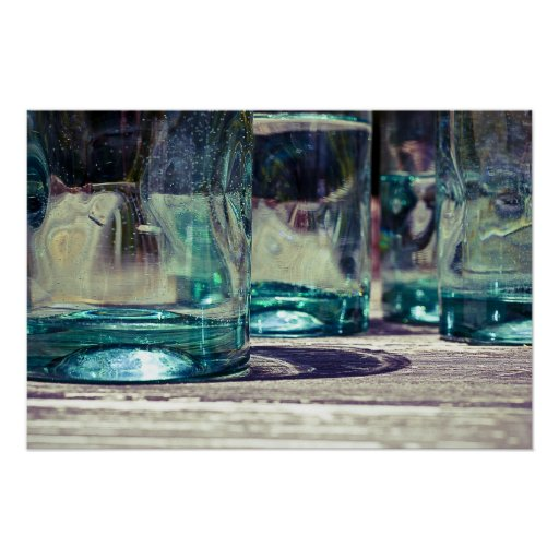 Green Mexican Glass on Rough Pine Table Poster