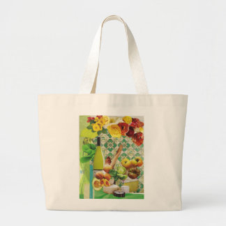 Green Mexican Tile Large Tote Bag
