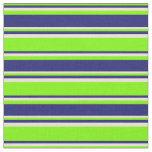 [ Thumbnail: Green, Midnight Blue, and Bisque Lines Pattern Fabric ]