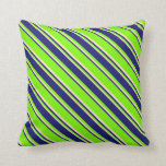 [ Thumbnail: Green, Midnight Blue, and Bisque Lines Pattern Throw Pillow ]