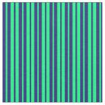 [ Thumbnail: Green & Midnight Blue Lines Fabric ]
