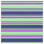 [ Thumbnail: Green, Midnight Blue, White & Dark Violet Stripes Fabric ]