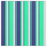[ Thumbnail: Green, Midnight Blue, White & Powder Blue Lines Fabric ]