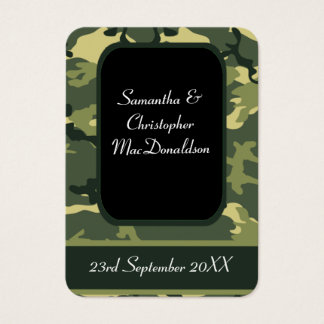 Green military camouflage favor thank you tag