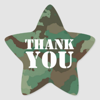 Green Military Camouflage Thank Star Envelope Seal