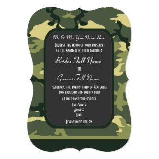 Green military camouflage wedding card