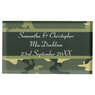 Green military camouflage  wedding table card holder