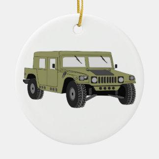 Green Military Humvee Ceramic Ornament