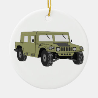 Green Military Humvee Double-Sided Ceramic Round Christmas Ornament