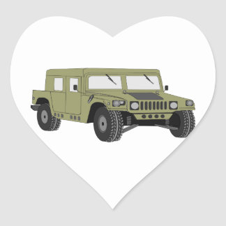 Green Military Humvee Heart Sticker