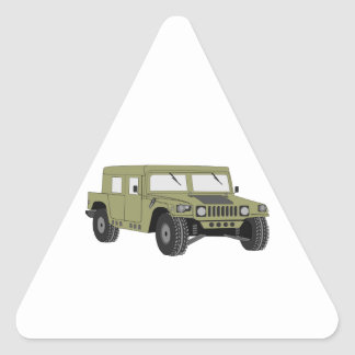 Green Military Humvee Triangle Sticker