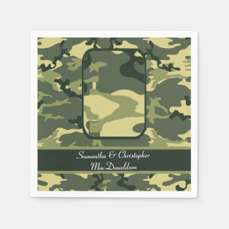 Green military or hunting camouflage wedding standard cocktail napkin